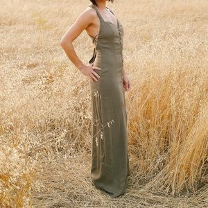 Olive green maxi backless dress